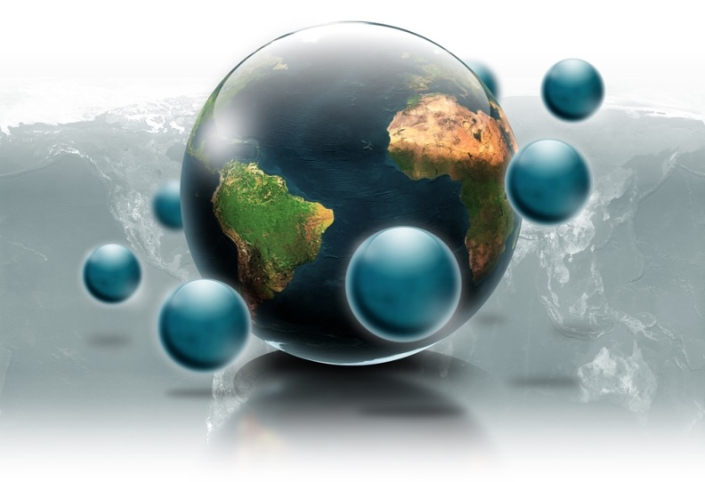 A model of the world, surrounded by floating blue globes, superimposed on a map of the planet